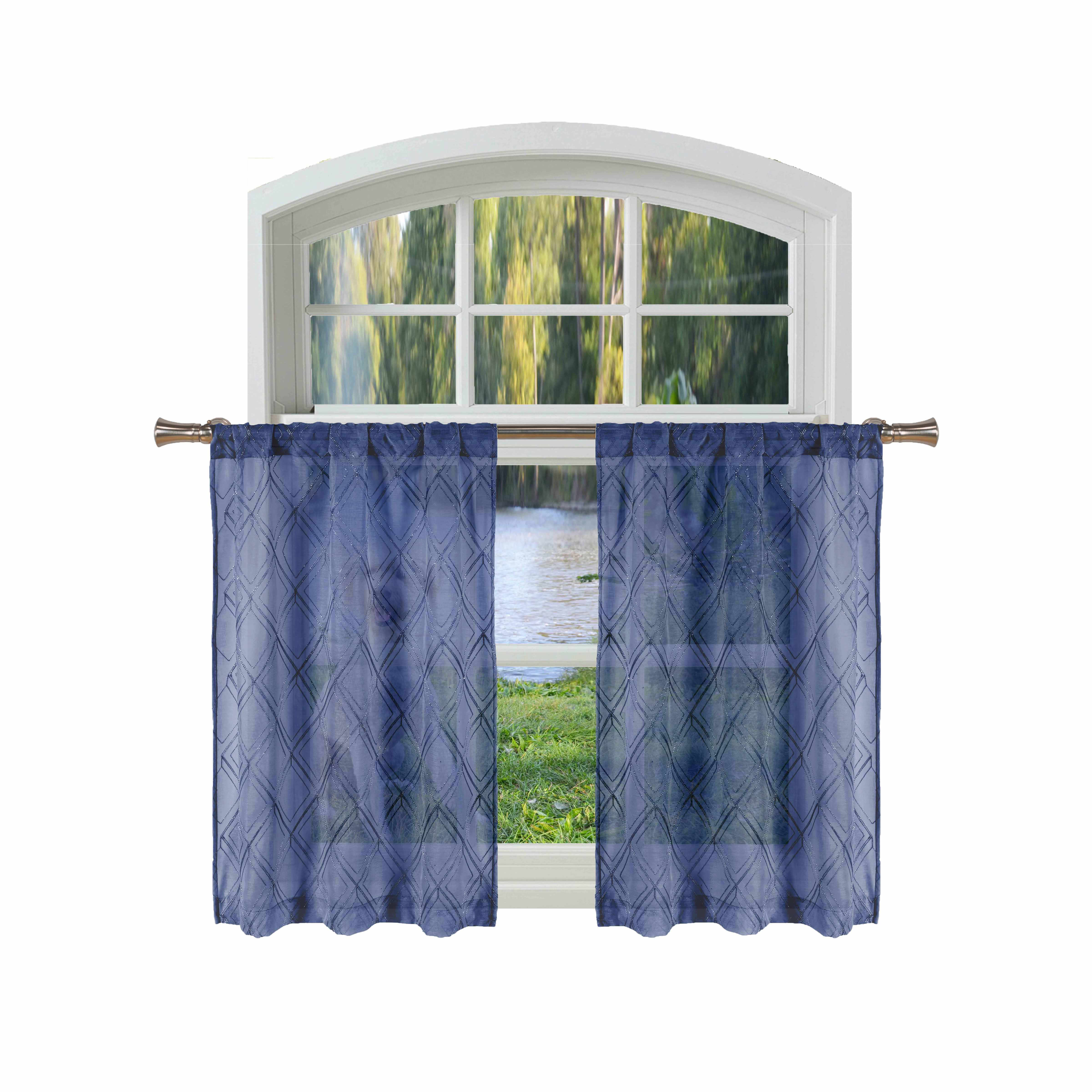 Bathroom And More Adley Collection Navy Blue Sheer Window Curtain Valance Embroidered Diamond Trellis Design With Navy Blue And Metallic Silver Thread Single 1 Valance 56in W X 15in L Walmart Com