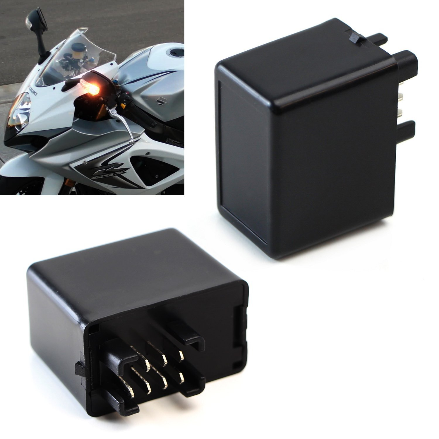 iJDMTOY (1) 7-Pin Plug-N-Play Electronic LED Flasher Relay Hyper Flash Fix For Suzuki Motorcycle Bike Installing LED Turn Signal Bulbs