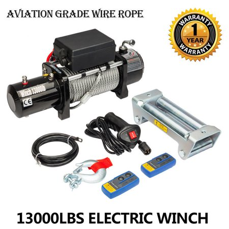 - Zimtown 13000lbs 12V Electric Recovery Winch Truck SUV Durable Remote Control 4WD