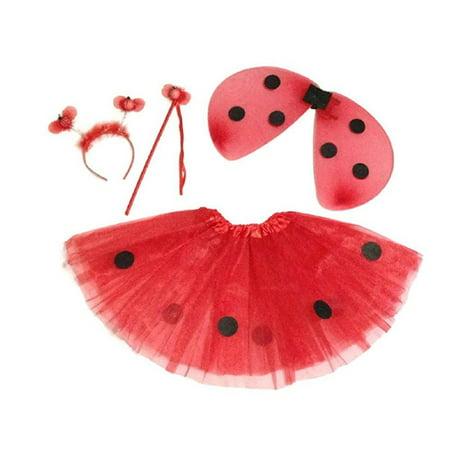 KWC - 4 pcs Ladybug Costume Set - Wings, Tutu, Antennas Headband and Wand (Ladybug Headband)