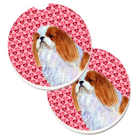 - English Toy Spaniel Hearts Love and Valentine's Day Portrait Set of 2 Cup Holder Car Coasters SS4507CARC