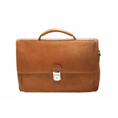 Mancini 15 Laptop Tablet Triple Compartment Flap Briefcase Cognac
