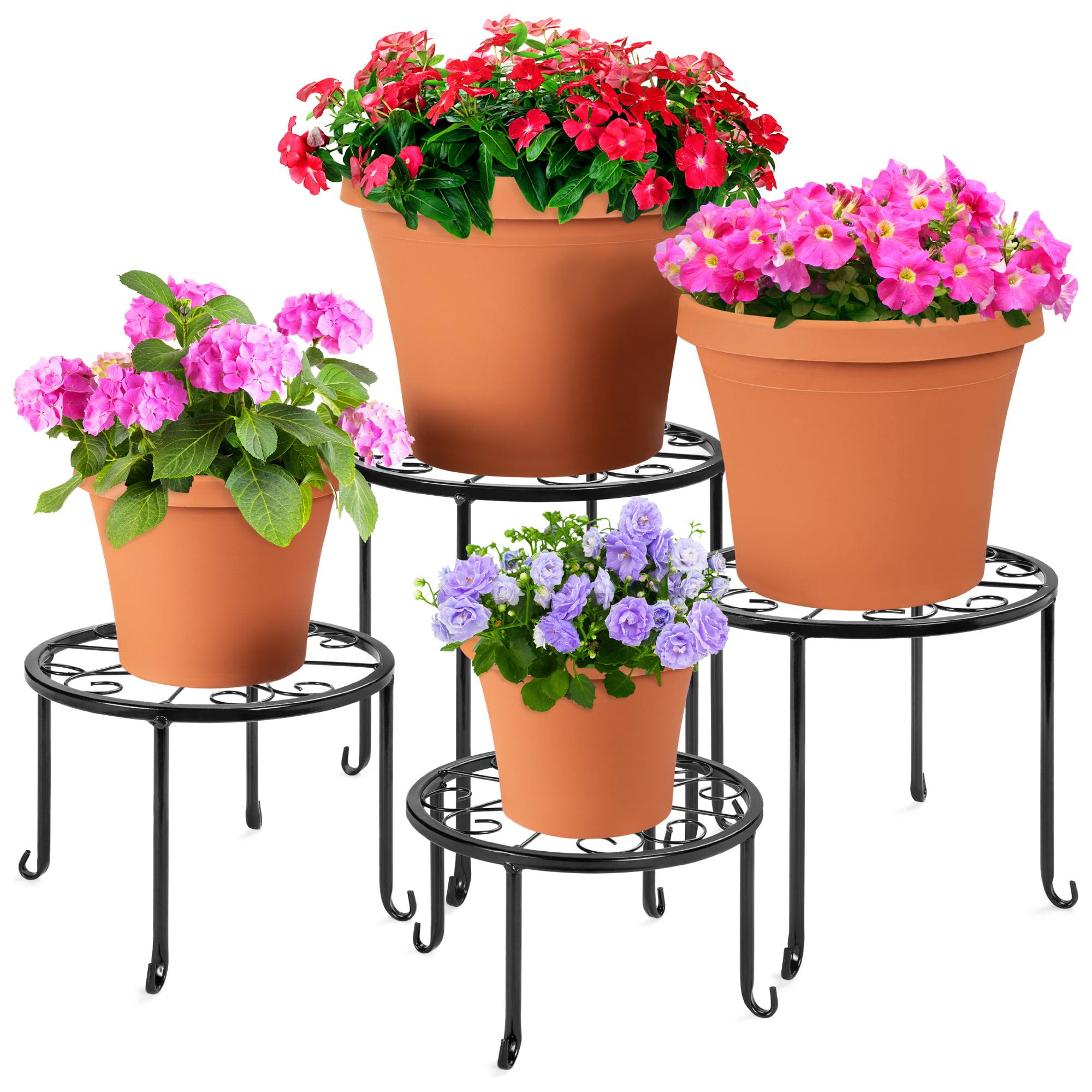 4 Pack Plant Stand Indoor Outdoor for Flower Pot Metal Garden Container Rack
