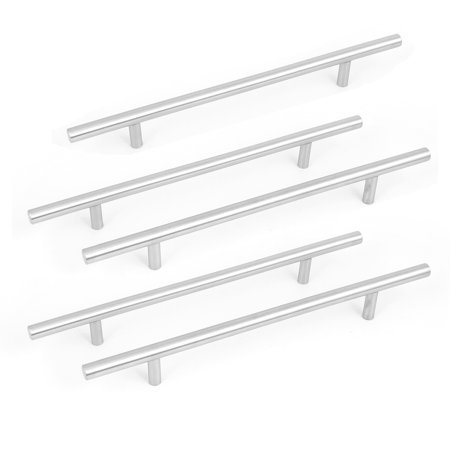 5pcs Stainless Steel Kitchen Cupboard Cabinet Drawer T Bar Pull Handle Knob 8