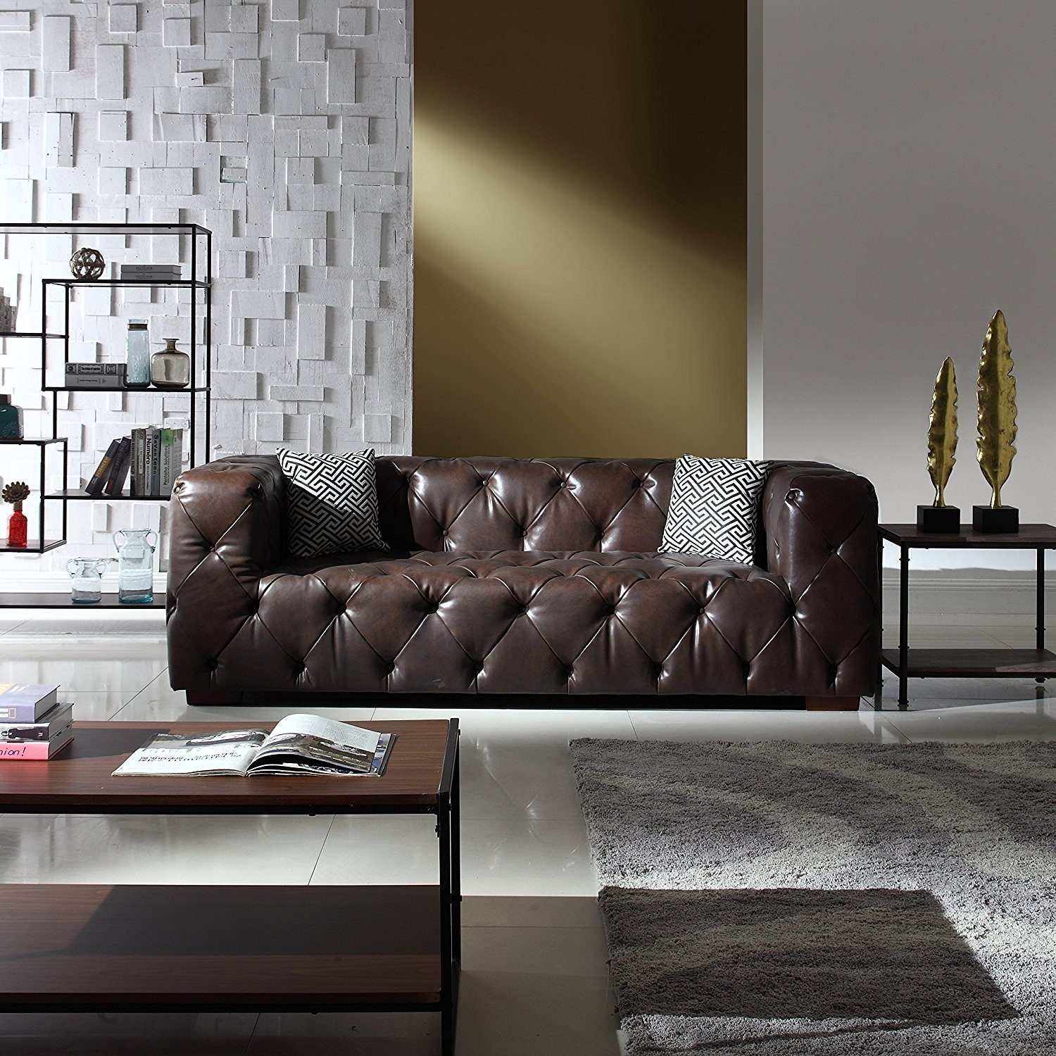 Modern Tufted Genuine Leather Sofa