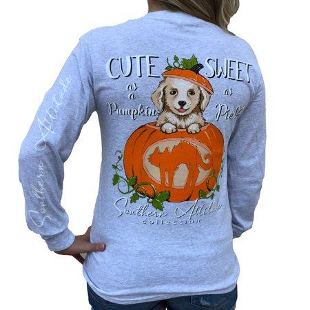 Southern Attitude Cute as a Pumpkin Sweet as Pie Puppy Dog Ash Gray Women's Long Sleeve Shirt