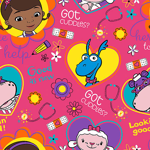 """Disney Doc McStuffins Big Book of Boo Boos Toss, Pink, 43/44"""" Wide, Fabric by the Yard"""