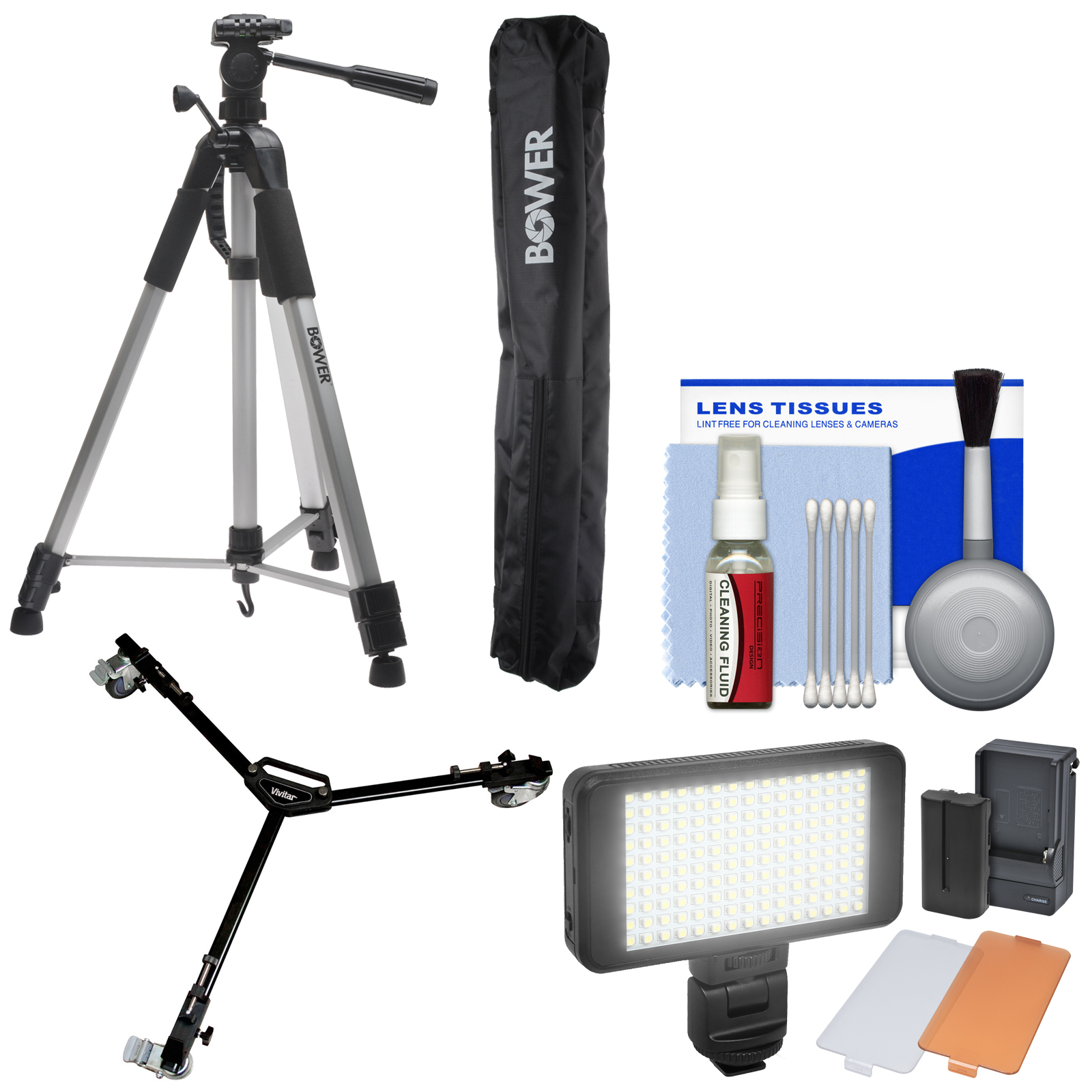 "Bower VTSL7200 72"" Digital Photo/Video Camera Tripod Steady-Lift Series with Case with W3 Universal Dolly + Video Light Kit"