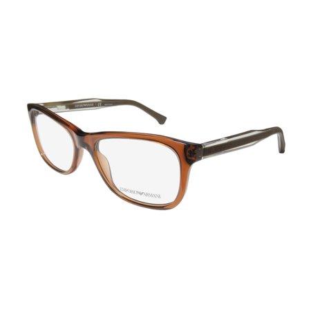 New Emporio Armani 3001 Womens/Ladies Cat Eye Full-Rim Brown / Clear Frame Demo Lenses 52-17-140 Spring Hinges (Armani Eye Frames)