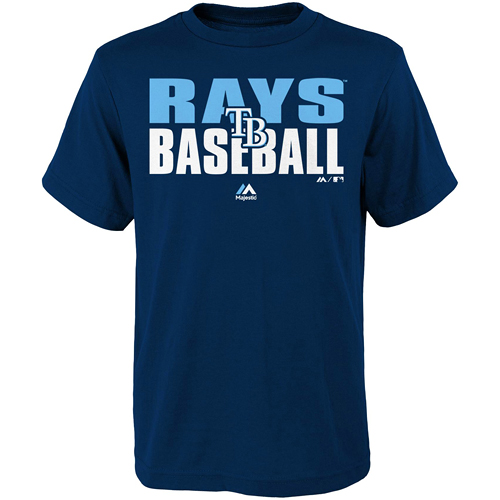 Tampa Bay Rays Majestic Youth Board Wall T-Shirt - Navy