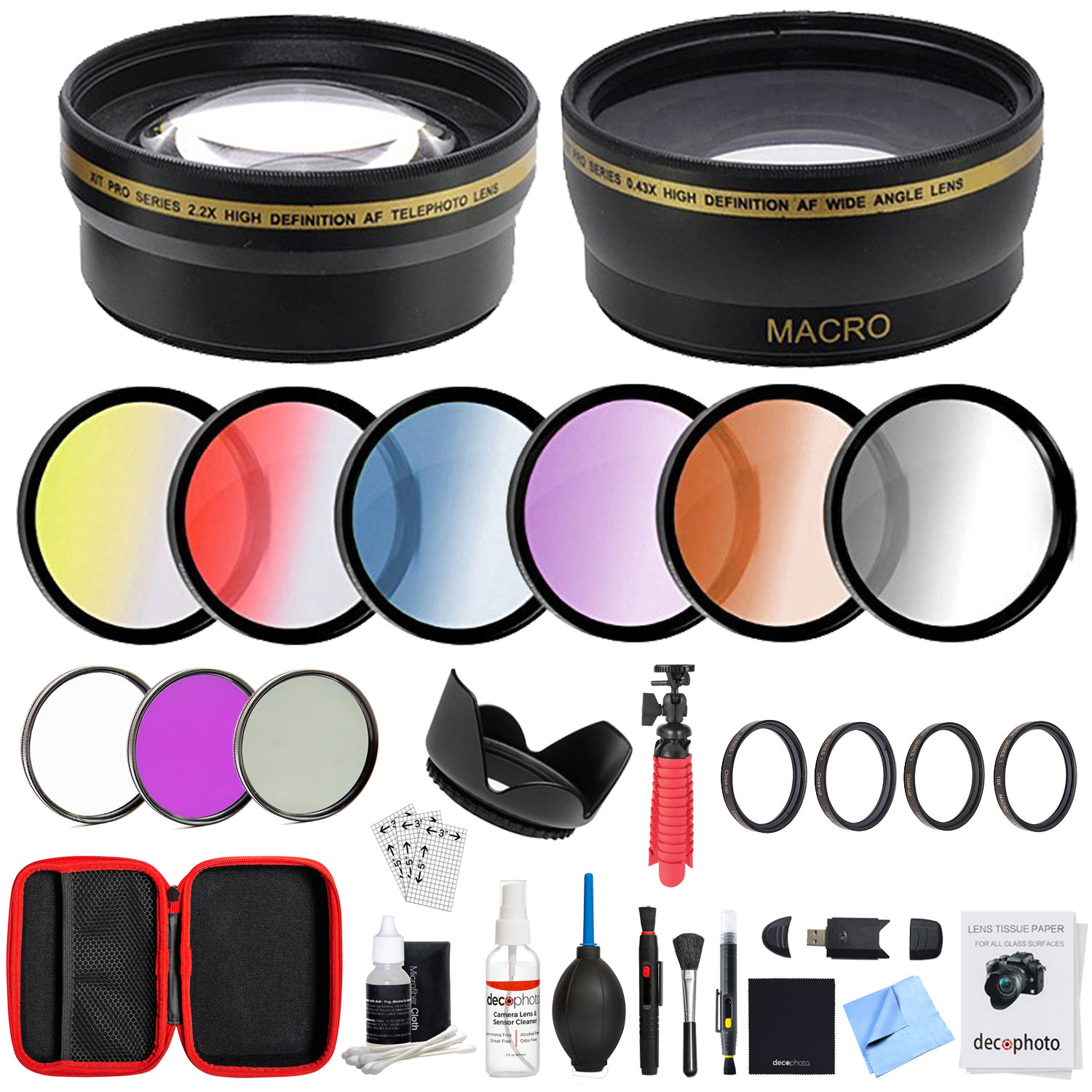 Deco Gear 55mm Lens Accessory Kit - Includes Filter Sets, Cases, and Cleaning Kit