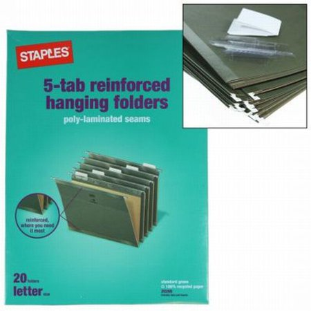 20 Staples 5 Tab Hanging File Folders Letter Size Paper Filing Office Cabinet