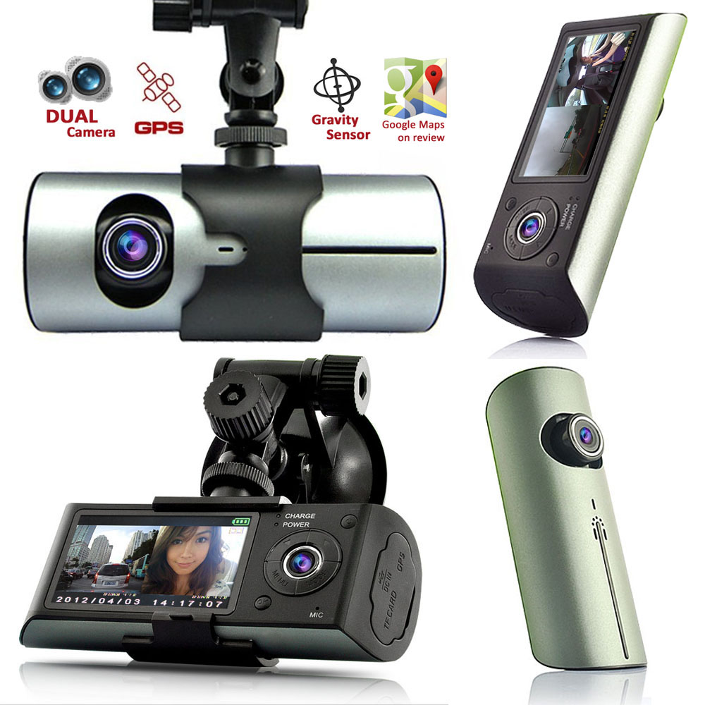 "Indigi® XR300 Car DVR DashCam w/ Dual Cameras (Front+Rear) Driving Recorder with 2.7"" Split Screen LCD w/ GPS Tracker"