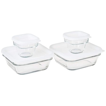 Made in Mexico Lonchera Recipientes Comida Contenedores Topper Emboitable Nestable Store 'N Save Glass Food Lunch Storage Bowl 8-pc Set With -