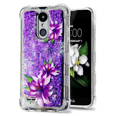 Rebel Floating - TUFF Liquid Floating Glitter Quicksand Waterfall Hybrid Silicone Gel Phone Protector Case - (Purple Lilies) and Atom Cloth for LG Rebel 3 4G LTE L157BL, L158VL