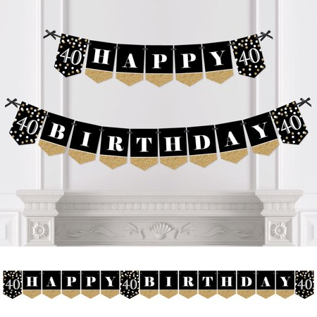 Adult 40th Birthday - Gold - Birthday Party Bunting Banner - Gold Party Decorations - Happy - 40th Birthday Party Banners