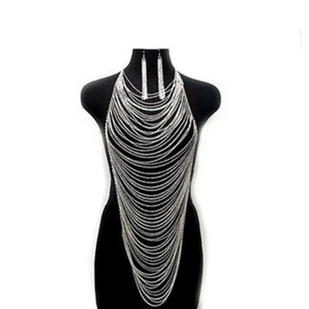Fashion Women Alloy Body Chain Long Necklace Chokers Punk Sexy Statement Jewelry with 1 Pair Earrings Silver