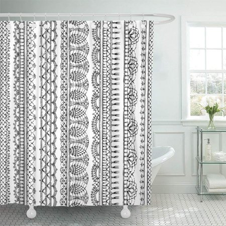 PKNMT Stitch Lacy Croched Black Sketch Knitted Edging Patterns and Borders on White Bathroom Shower Curtains 60x72 inch