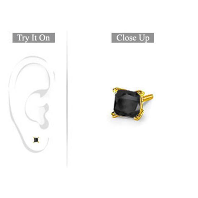 Fine Jewelry Vault UBMER14YGSQ050BD Mens 14K Yellow Gold- Princess Cut Black Diamond Stud Earring - 0. 50 CT.  TW.