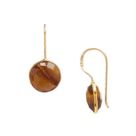 - Single Drop Round Faceted Gemstone Earrings, Tigers Eye