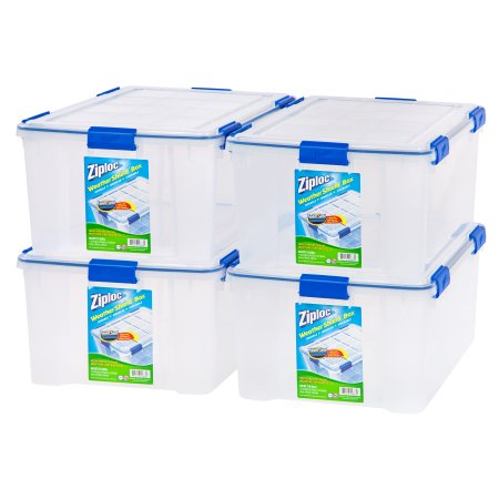 Ziploc 60-Quart (15 Gallon) WeatherShield Storage Box, Available in Single or 4-Pack (Plastic Bedding Storage Bags)