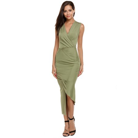 Women V-Neck Sleeveless Solid Draped Bodycon Asymmetrical Maxi Dress HFON
