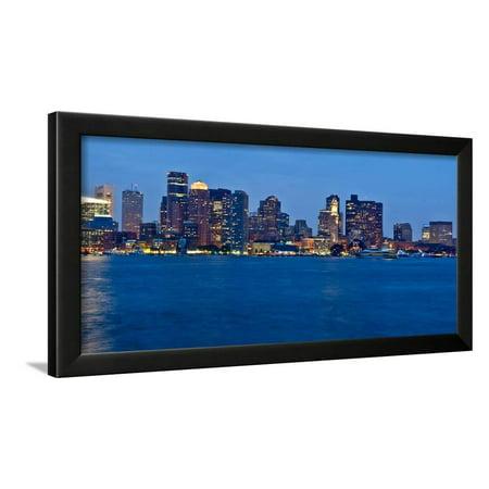 Boston Harbor skyline at dusk, Boston, Suffolk County, Massachusetts, USA Framed Print Wall Art
