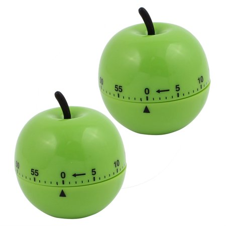 2Pcs 2.7x2.7x3-Inch 60-Minute Mechanical Kitchen Timers Green Apple Design