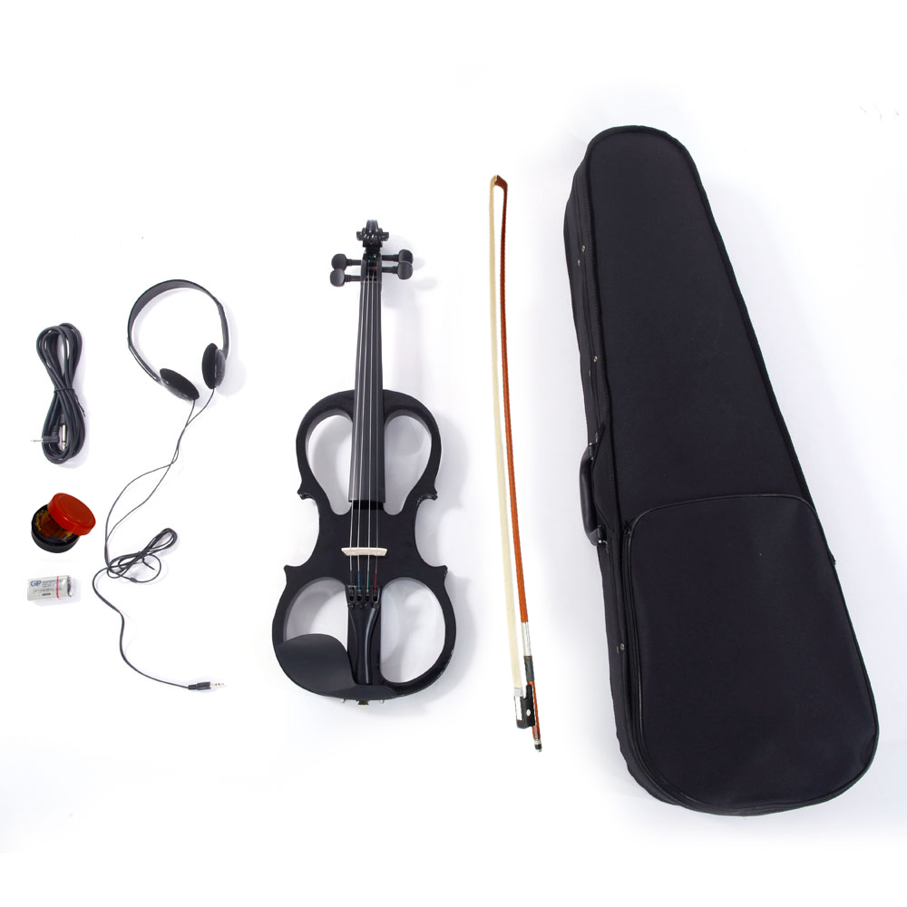 Ktaxon 4/4 Black v013 Solid Wood Electric/Silent Violin with Ebony Fittings - Full Size - Black Metallic