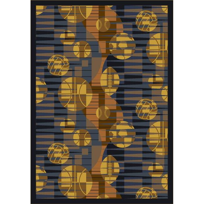 """Joy Carpets Games People Play - Gaming & Sports Area Rugs Keeping Score, 5'4"""" x 7'8"""", Blue"""