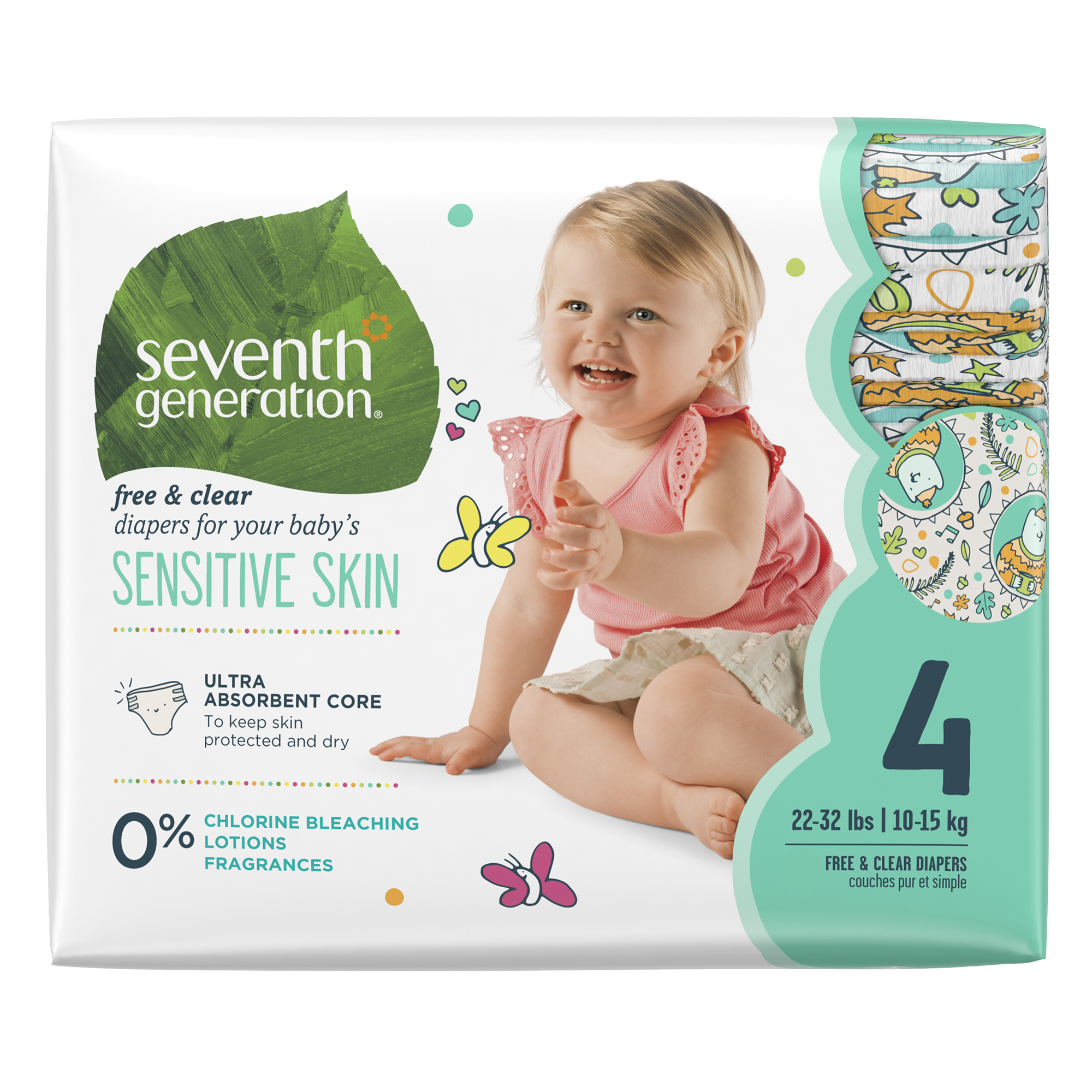 Seventh Generation Diapers Size 4, 1 pack of 27 (27 ct)