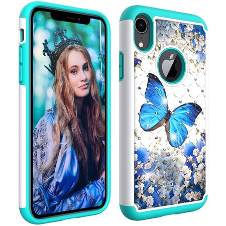 "iPhone XR Case,iPhone XR 6.1"" Case, Allytech Tough Dual Layer 2 in 1 Rugged Rubber Hybrid Hard PC Soft TPU Impact Back Protective Cover Coloured Drawing with Bling Diamond, Blue Butterfly"