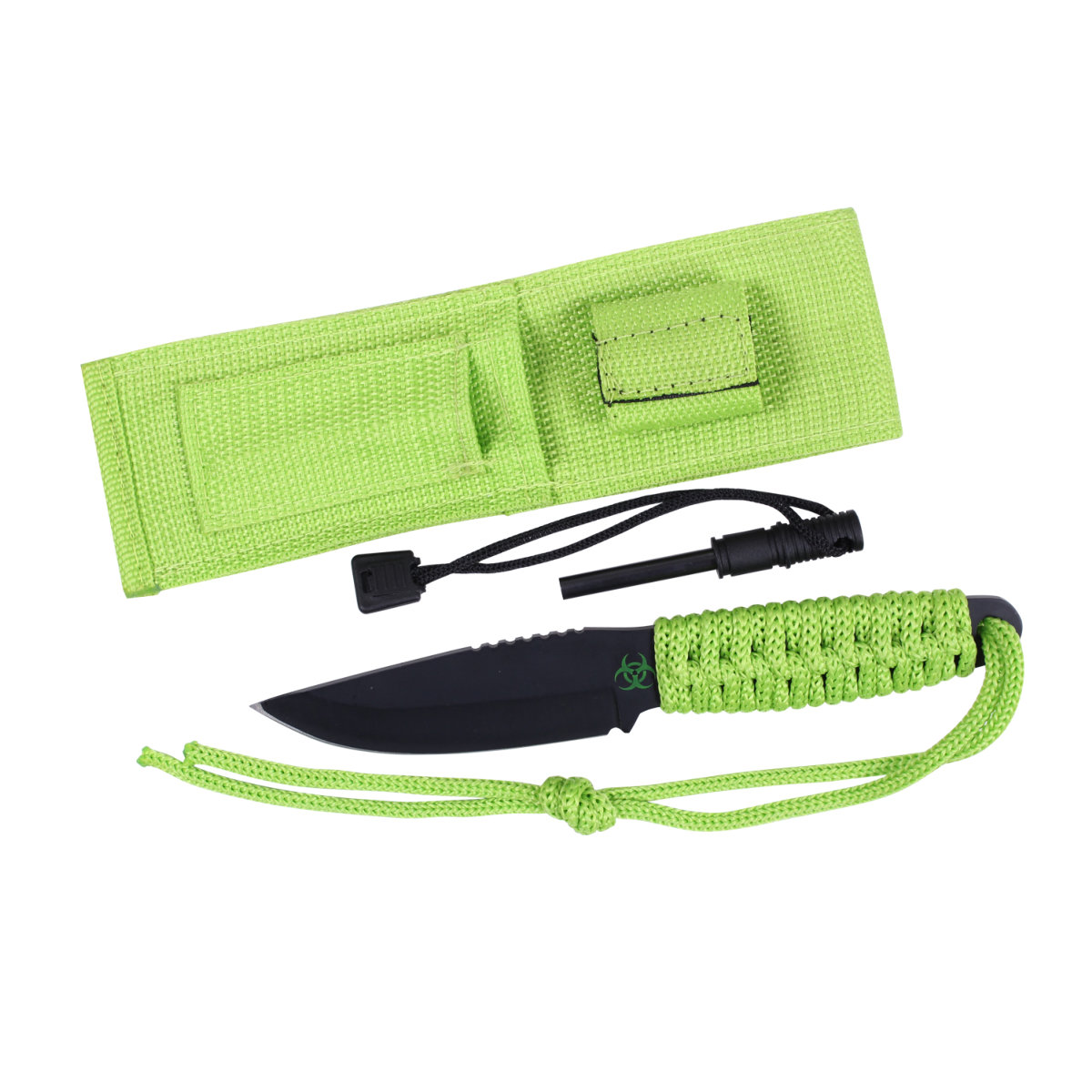 Rothco Zombie Paracord Survival Knife With Fire Starter and Sheath, Neon Green by Rothco