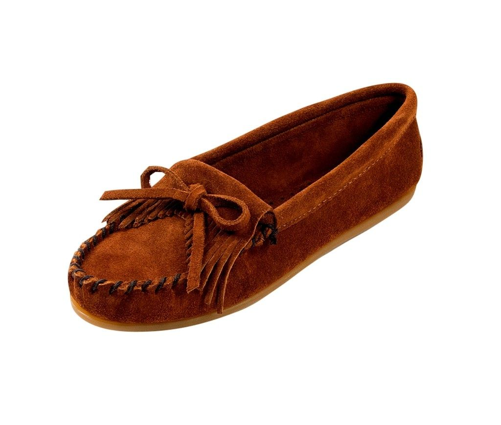 Minnetonka Shoes Womens Kilty Hardsole Moccasin Suede Brown 402 by Minnetonka