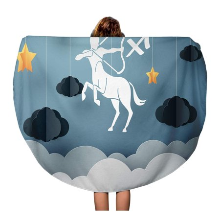 Round Origami (KDAGR 60 inch Round Beach Towel Blanket Origami of Centaur Archery to Sagittarius Zodiac and Horoscope Travel Circle Circular Towels Mat Tapestry Beach Throw)