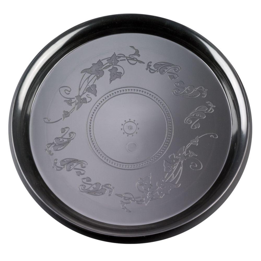 "EMI Yoshi EMI-220-BLK Plastic Round 12"" Tray - 25 / CS"