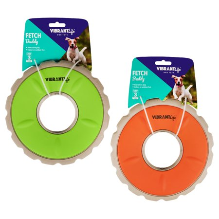 Vibrant Life Fetch Buddy Disc Dog Toy, Assorted Colors, Chew Level 3