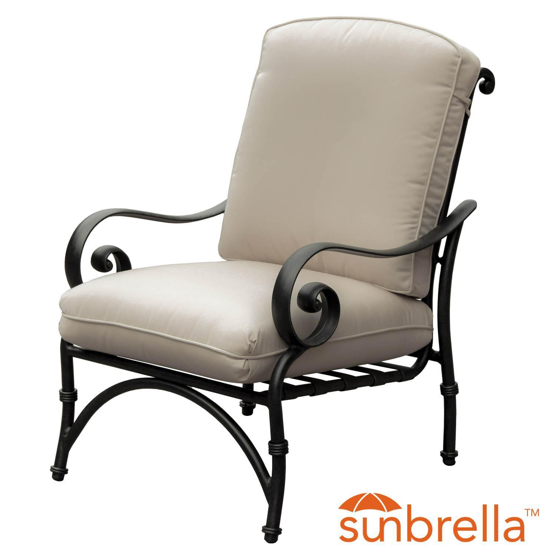 Elysian Aluminum Patio Club Chair W/ Sunbrella Canvas Antique Beige Cushion By Lakeview Outdoor Designs