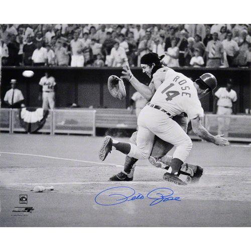 MLB - Pete Rose Autographed Photograph | Details: 16x20, Cincinnati Reds, Collision