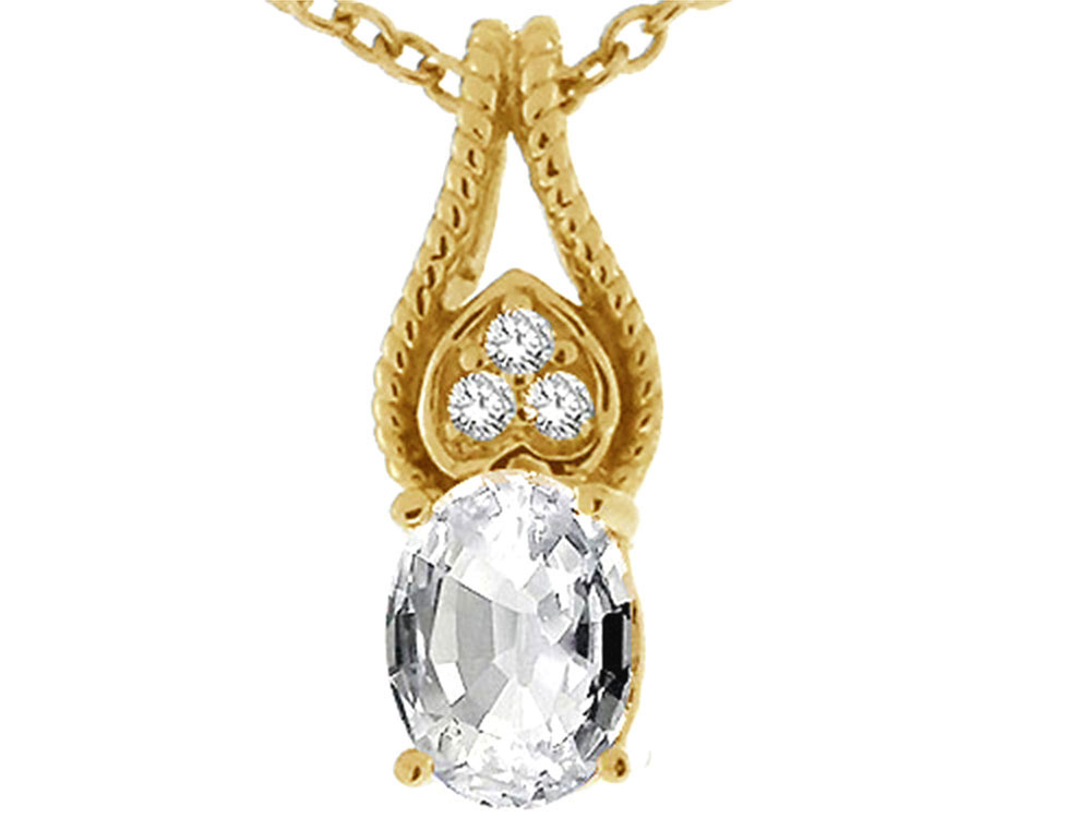 Tommaso Design Oval 7x5mm Genuine White Topaz Pendant Necklace by