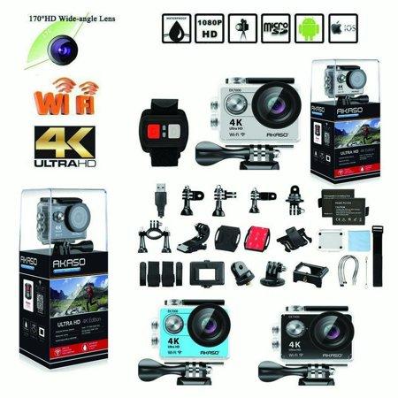 AKASO EK7000 4k WIFI Outdoor Sport Action Camera Ultra HD Waterproof DV Camcorder 12MP Extreme Underwater 1080p 60fps Video Cam-Black ()
