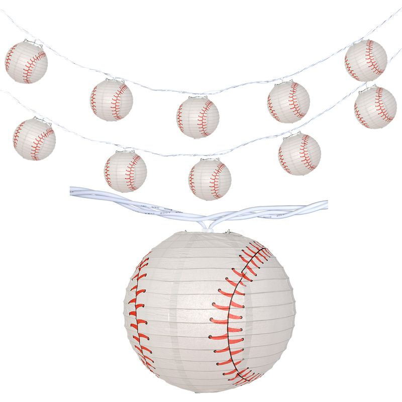 "Fantado 10 Socket Baseball Sports Round Paper Lantern Party String Lights (4"" Lanterns) by PaperLanternStore"