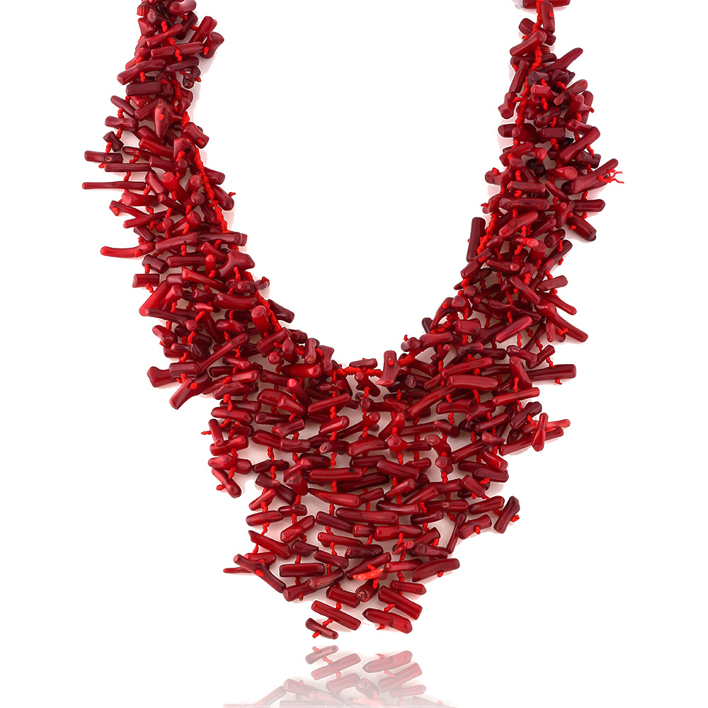 Mesmerizing 18 Inch Semi Precious Red Coral Chips Strand Statement Necklace 18""