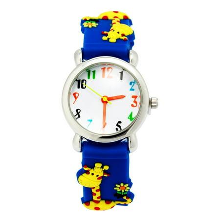 3D Cute Cartoon Quartz Watch Wristwatches with Silicone band Time Teacher for Little Girls Boy Kids Children Gift (Giraffe Blue), 3D cartoon design,.., By