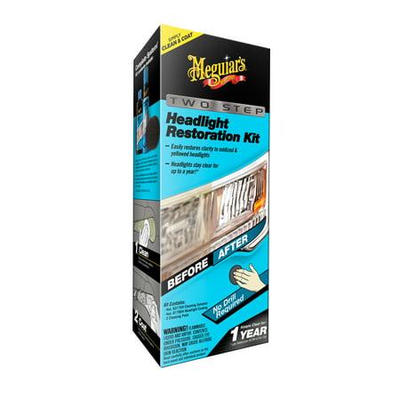 Clear Plastic Restoration Kit - Meguiar's G2970 Meguiar's Two Step Headlight Restoration Kit, 4 fl. oz, 1 Pack