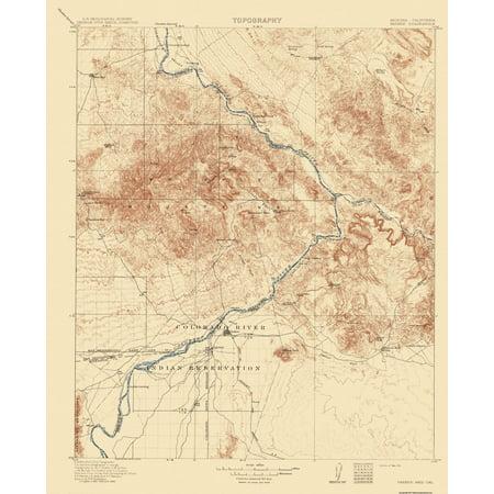 Map Of Arizona California Border.Topographical Map Print Parker Arizona California Usgs 1911 23 X 28 25