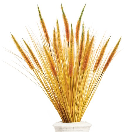 (Artificial Wheatgrass Bushes Set for Fall Decorative Floral Arrangements, Indoor and Outdoor Use, 3 pc, Natural)