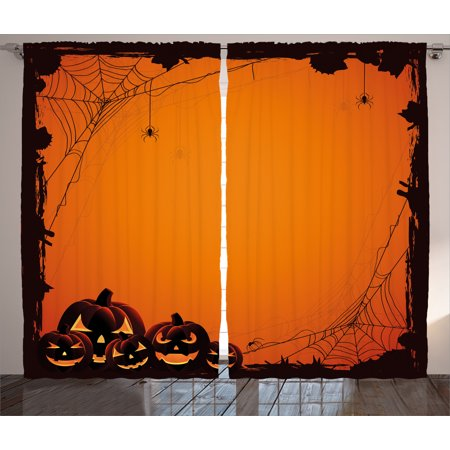 Halloween Decorations Curtains 2 Panels Set, Grunge Spider Web Pumpkins Horror Time of Year Trick or Treat Decor, Window Drapes for Living Room Bedroom, 108W X 84L Inches, Orange Black, by Ambesonne](Halloween Decorations For Living Room)