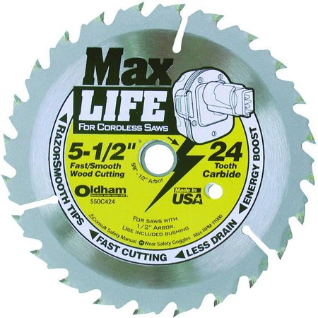 (Oldham 550C424 Circular Saw Blade, 5-1/2 in Dia x 0.04 in T, 24 Teeth, 5/8 - 1/2 in Arbor)