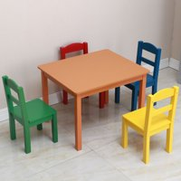 Toddler Table and Chair Set, Easy Clean 5 Pcs Kids Table and Chair Set, Wooden Child Art Table/Study/Picnic/Activity/Dining Table, Playroom Furniture for 3+ Years Old Boy/Girl, Multicolor, W5589